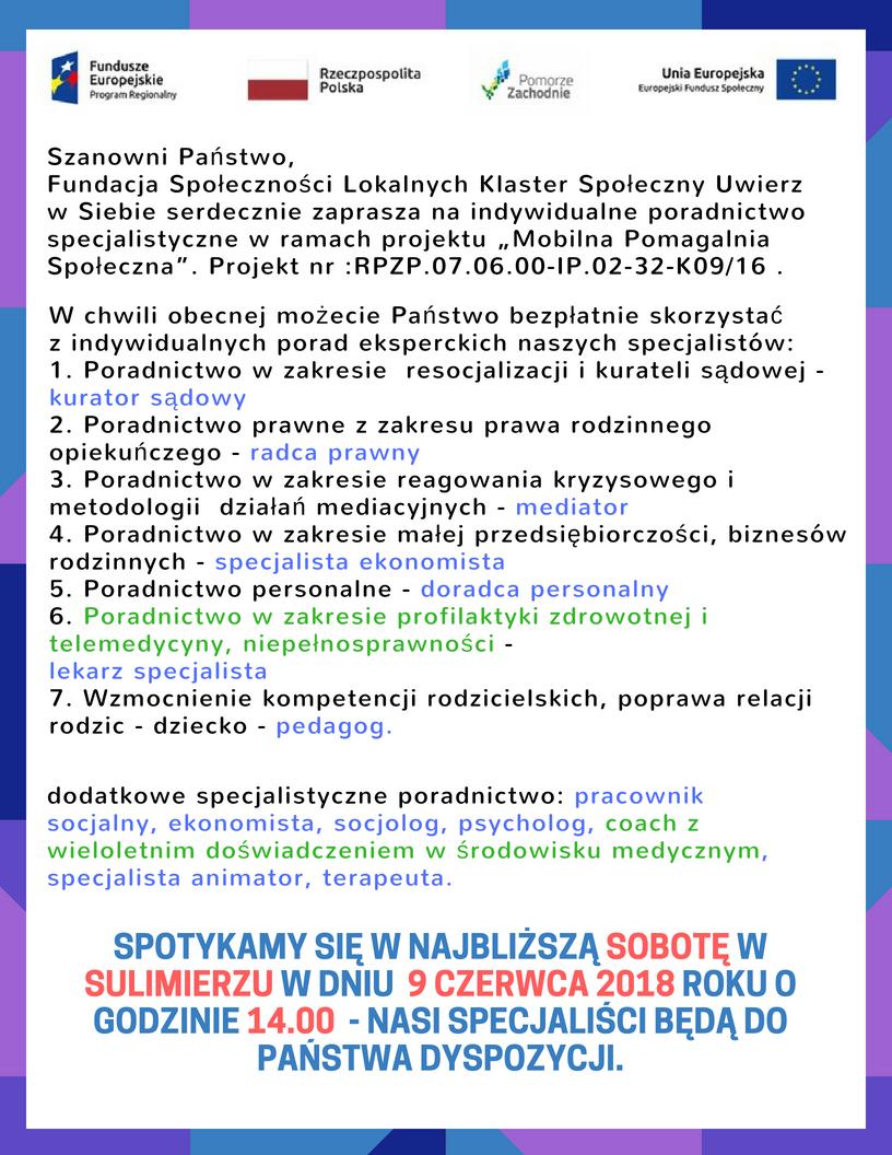 Sulimierz 09.06.2018 Fundacja e-medycyna Mobilna pomagalnia
